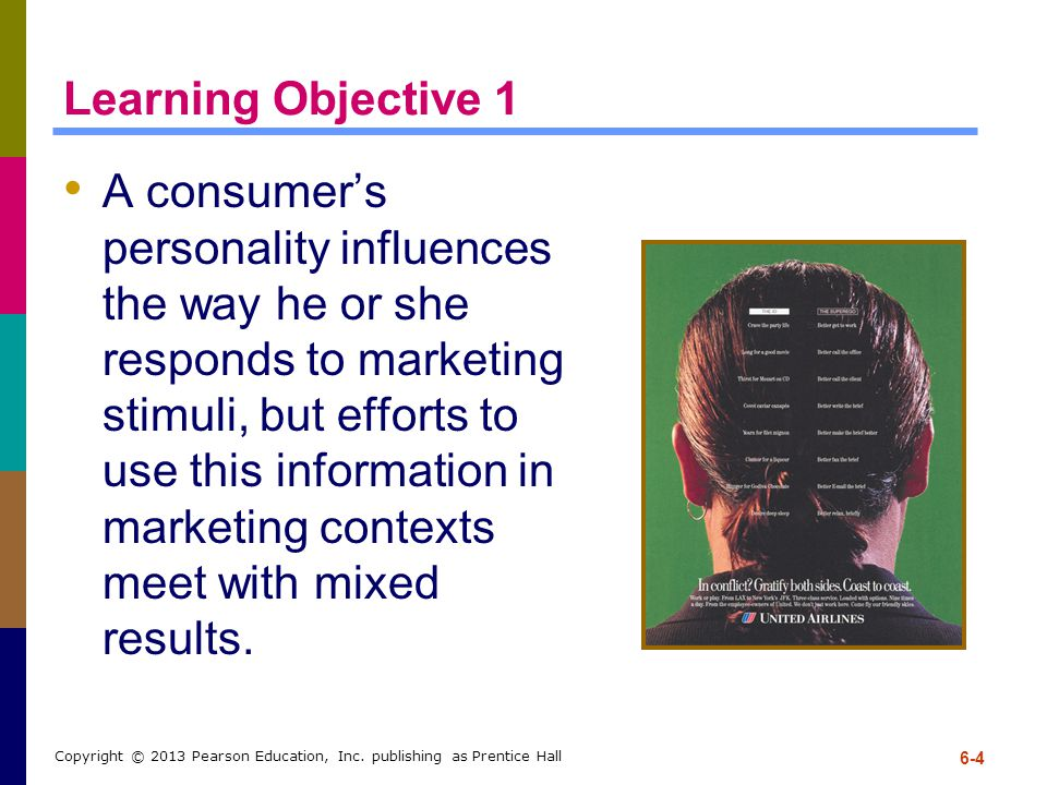 Learning Objective 1 A consumer's personality influences the way he or she responds to marketing stimuli, but efforts to use this information in marke