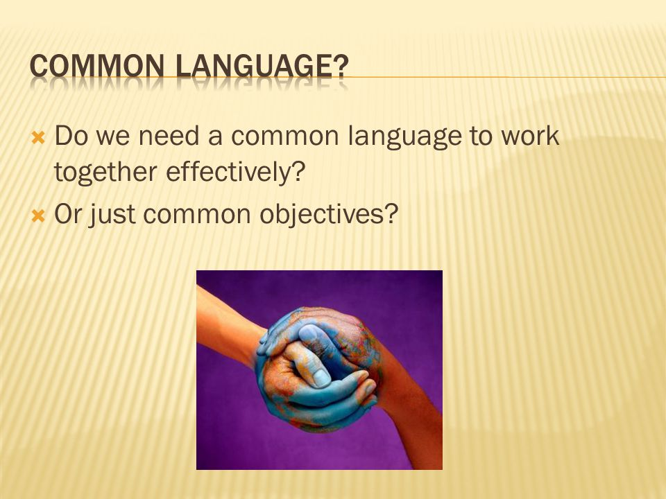  Do we need a common language to work together effectively?  Or just common objectives?