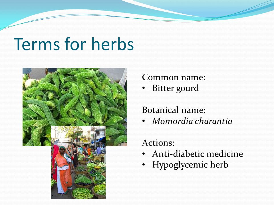 Terms for herbs Common name: Bitter gourd Botanical name: Momordia charantia Actions: Anti-diabetic medicine Hypoglycemic herb