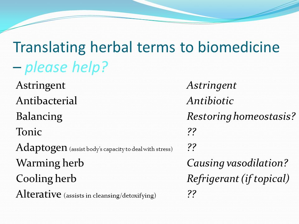 Translating herbal terms to biomedicine – please help.