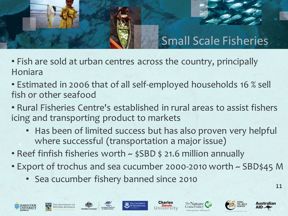 11 Small Scale Fisheries Fish are sold at urban centres across the country, principally Honiara Estimated in 2006 that of all self-employed households 16 % sell fish or other seafood Rural Fisheries Centre s established in rural areas to assist fishers icing and transporting product to markets Has been of limited success but has also proven very helpful where successful (transportation a major issue) Reef finfish fisheries worth ~ $SBD $ 21.6 million annually Export of trochus and sea cucumber 2000-2010 worth ~ SBD$45 M Sea cucumber fishery banned since 2010