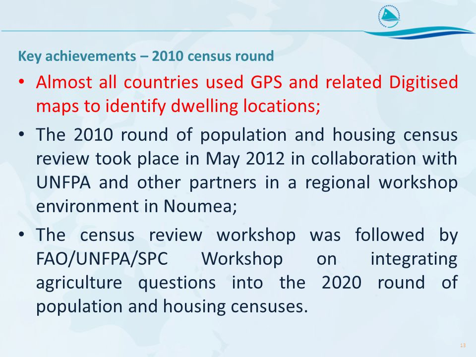Key achievements – 2010 census round Almost all countries used GPS and related Digitised maps to identify dwelling locations; The 2010 round of population and housing census review took place in May 2012 in collaboration with UNFPA and other partners in a regional workshop environment in Noumea; The census review workshop was followed by FAO/UNFPA/SPC Workshop on integrating agriculture questions into the 2020 round of population and housing censuses.