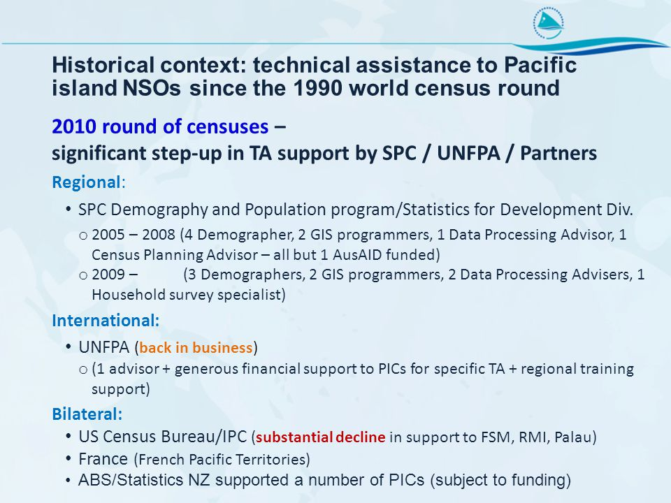 Historical context: technical assistance to Pacific island NSOs since the 1990 world census round 2010 round of censuses – significant step-up in TA support by SPC / UNFPA / Partners Regional: SPC Demography and Population program/Statistics for Development Div.