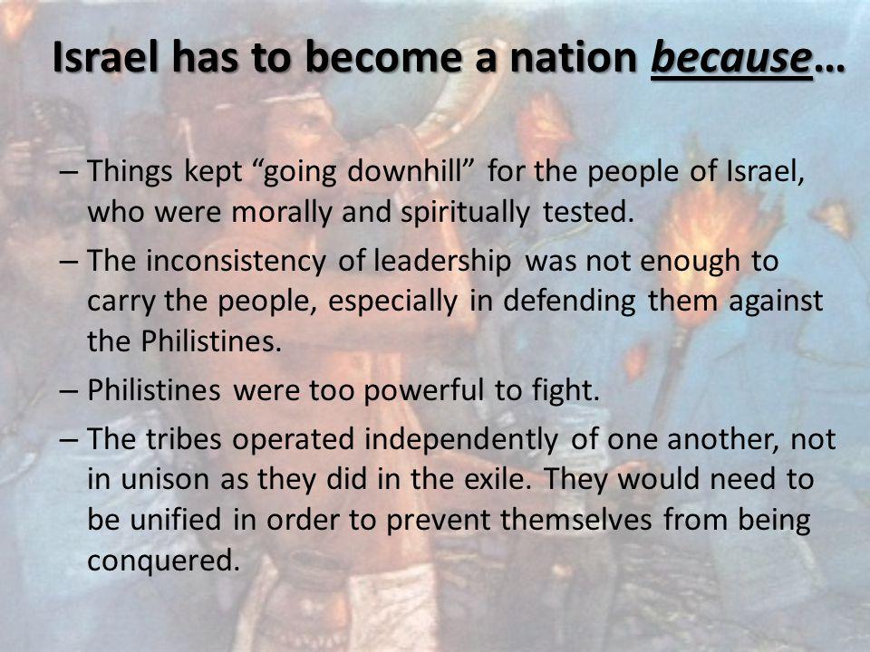 1 & 2 SAMUEL AND 1 KINGS EXPLAIN ISRAEL'S TRANSITION TO NATIONHOOD (AROUND 1000 B.C.)