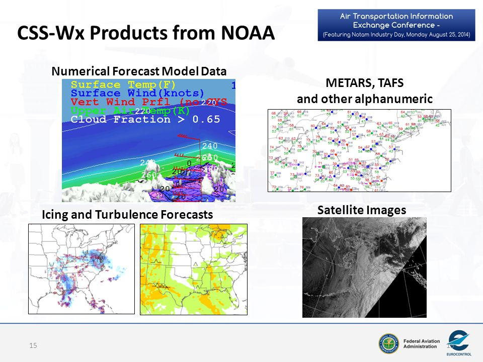 CSS-Wx Products from NOAA Numerical Forecast Model Data METARS, TAFS and other alphanumeric Icing and Turbulence Forecasts Satellite Images 15