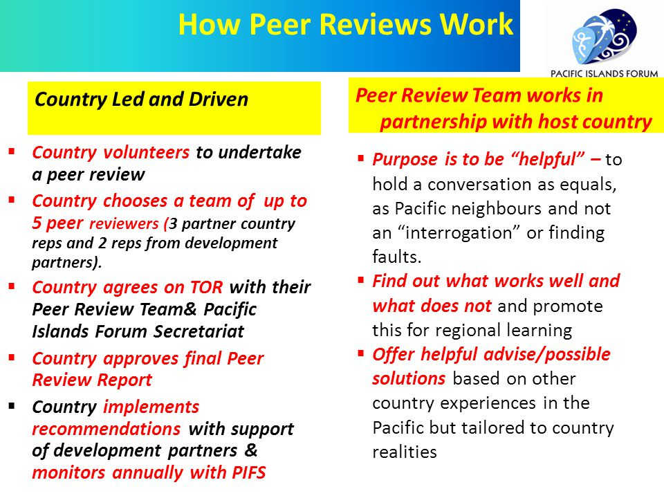  Country volunteers to undertake a peer review  Country chooses a team of up to 5 peer reviewers (3 partner country reps and 2 reps from development partners).