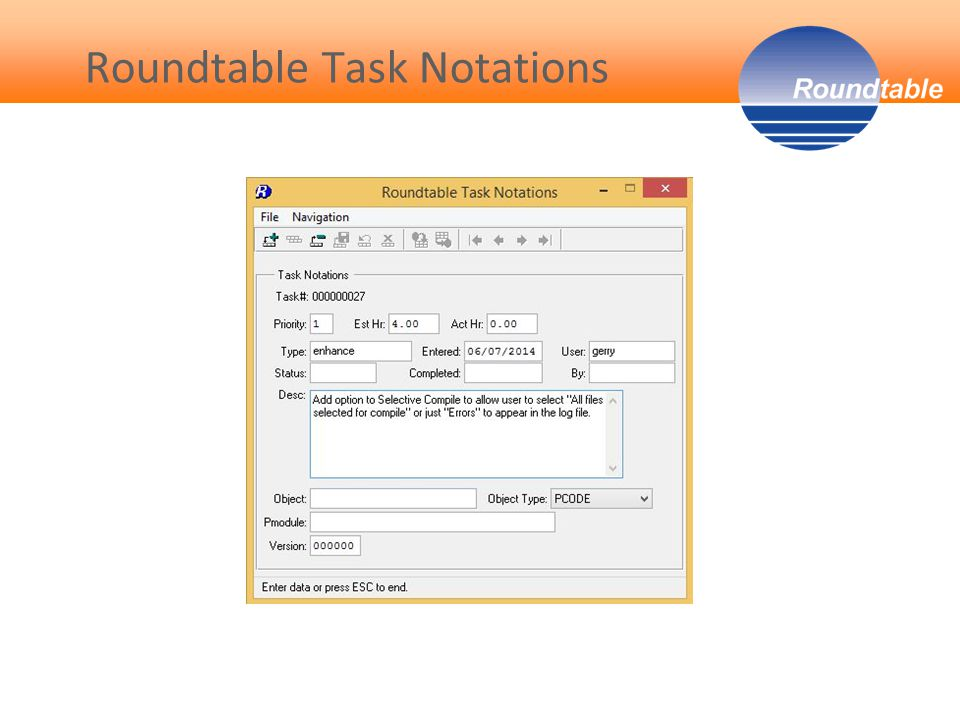 Roundtable Task Notations