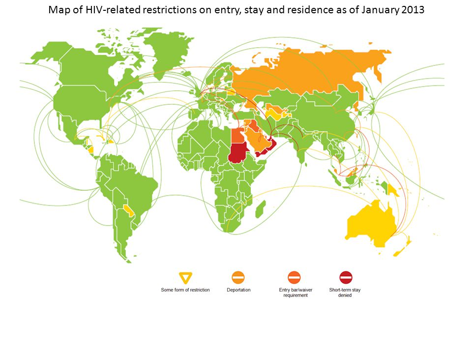 Map of HIV-related restrictions on entry, stay and residence as of January 2013