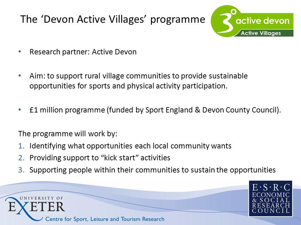Response rates 6400 surveys sent out in March 2011 Overall response rate = 37.7% (2412 responses) East Devon = 40.5% Mid Devon = 38.4% North Devon = 34% South Hams = 34.1% Teignbridge = 36.9% Torridge = 40.8% West Devon = 38.9% At least 10 responses per village: Lowest = 11 (22%) Highest = 31 (62%)