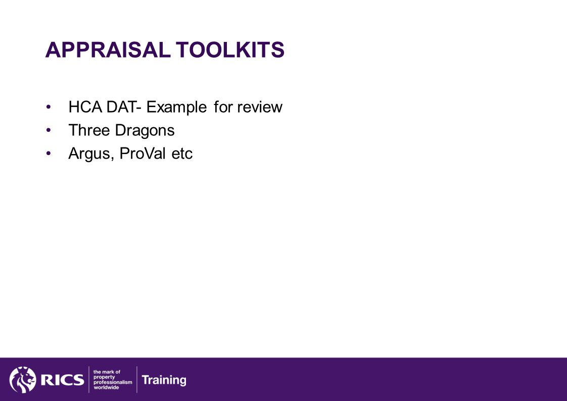 APPRAISAL TOOLKITS HCA DAT- Example for review Three Dragons Argus, ProVal etc
