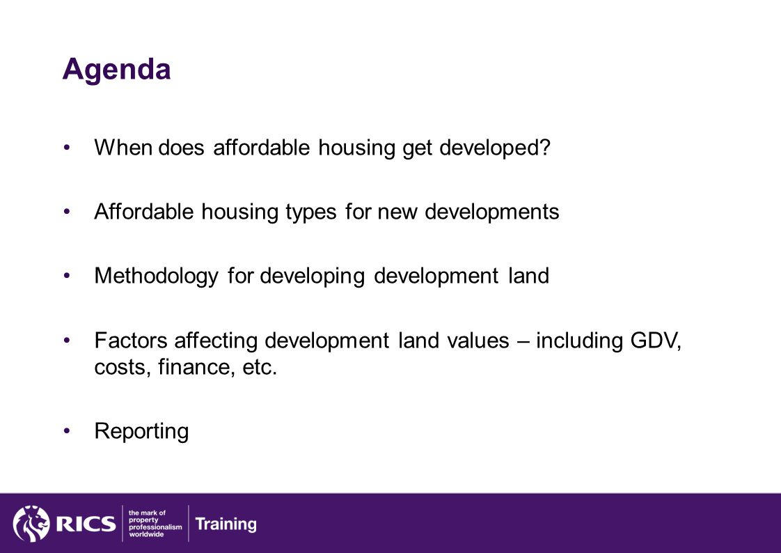 Agenda When does affordable housing get developed.