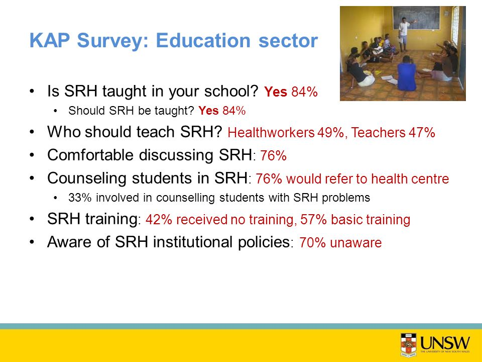KAP Survey: Education sector Is SRH taught in your school.