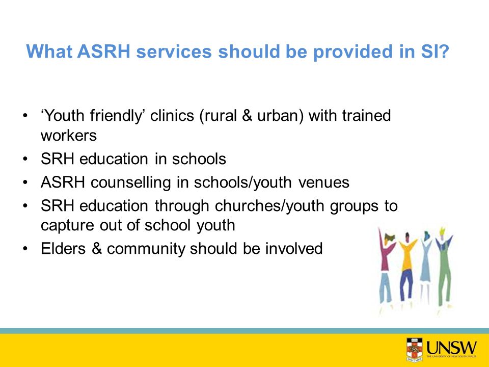 What ASRH services should be provided in SI.