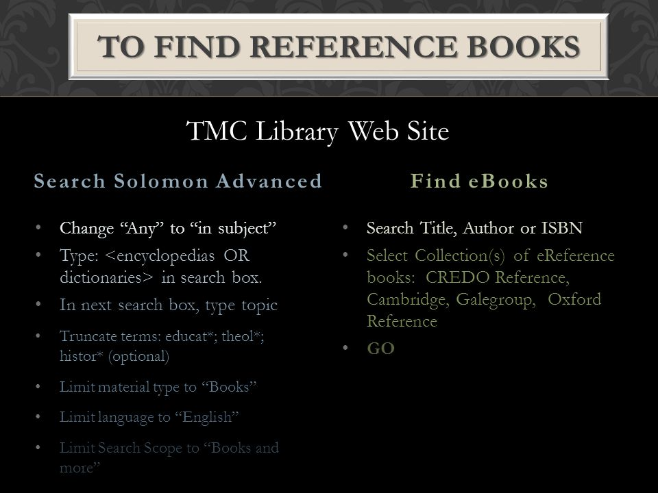 """Change """"Any"""" to """"in subject"""" Type: in search box. In next search box, type topic Truncate terms: educat*; theol*; histor* (optional) Limit material ty"""