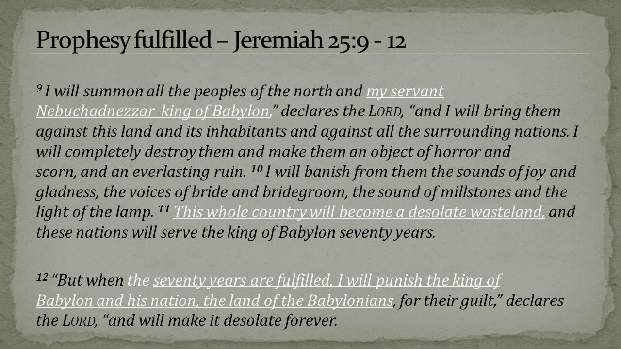 722 BC - Assyrians captured Israel and scatter them over the know world, because of their unfaithfulness to the covenant  2 Kings 15:29, 2 Kings 17:6,7  Assyria resettles Israel (2 Kings 17:24)  No return.