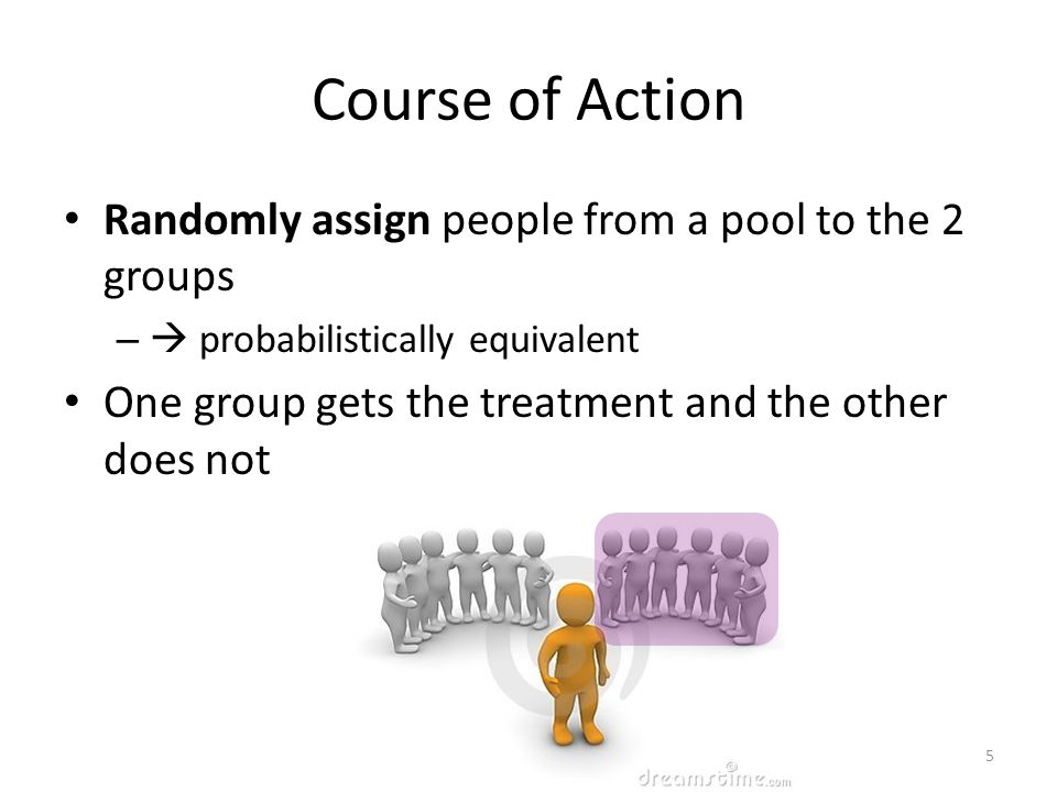 Course of Action Randomly assign people from a pool to the 2 groups –  probabilistically equivalent One group gets the treatment and the other does not 5
