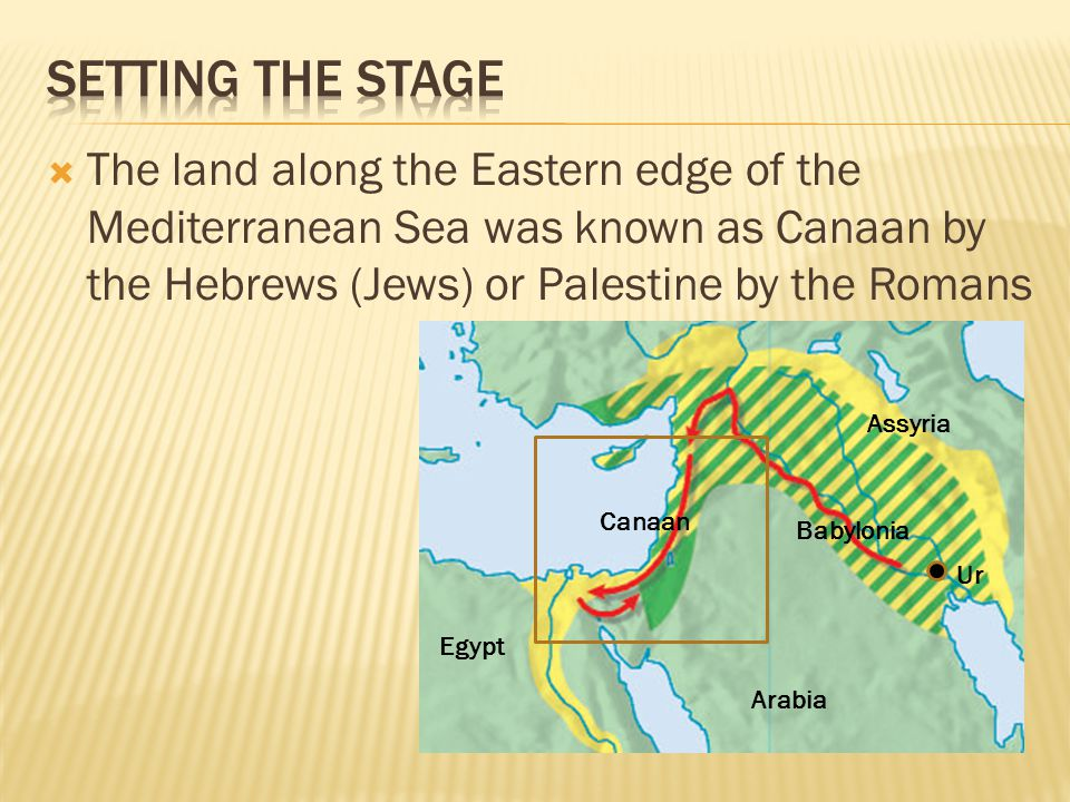 The land along the Eastern edge of the Mediterranean Sea was known as Canaan by the Hebrews (Jews) or Palestine by the Romans Canaan Babylonia Assyr