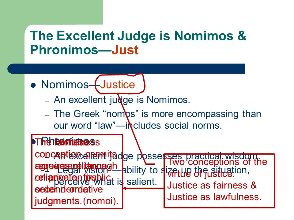 The Excellent Judge is Nomimos & Phronimos—Just and Practically Wise Nomimos—Justice – An excellent judge is Nomimos.
