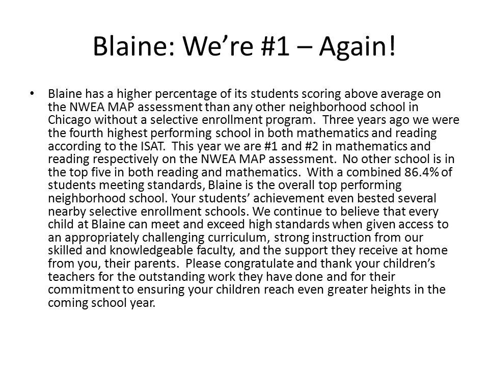 Blaine: We're #1 – Again.