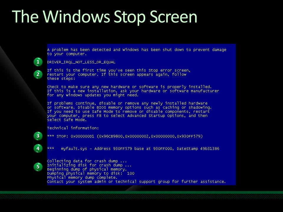 The Windows Stop Screen 11 22 33 44 55