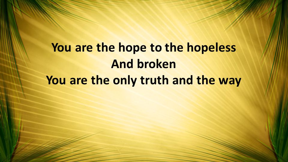 You are the hope to the hopeless And broken You are the only truth and the way