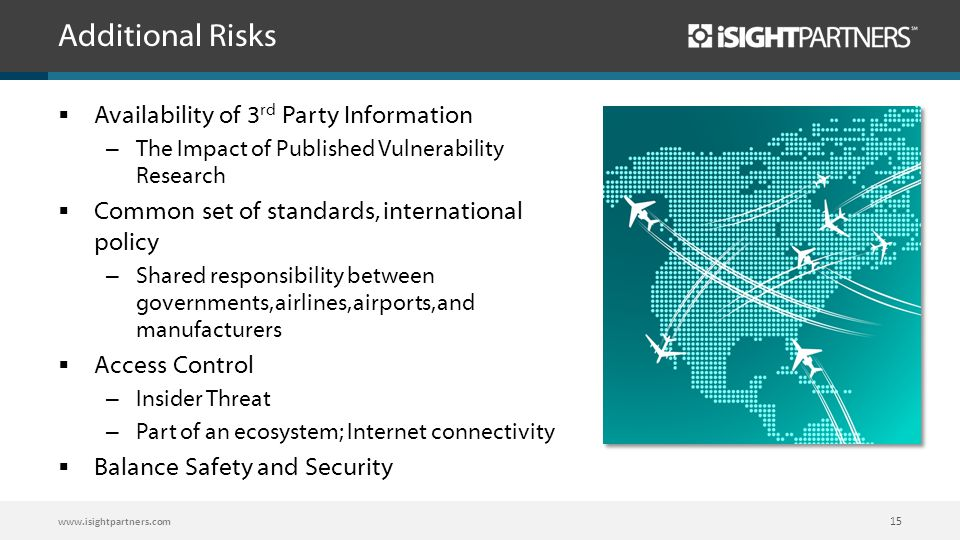 Additional Risks  Availability of 3 rd Party Information – The Impact of Published Vulnerability Research  Common set of standards, international po