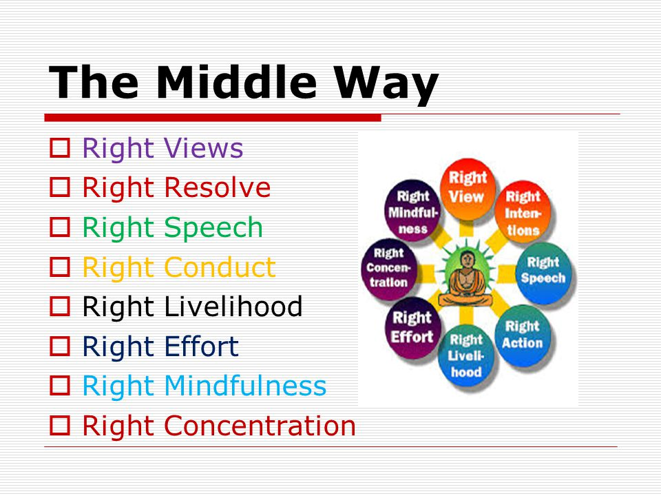 The Middle Way  Right Views  Right Resolve  Right Speech  Right Conduct  Right Livelihood  Right Effort  Right Mindfulness  Right Concentration