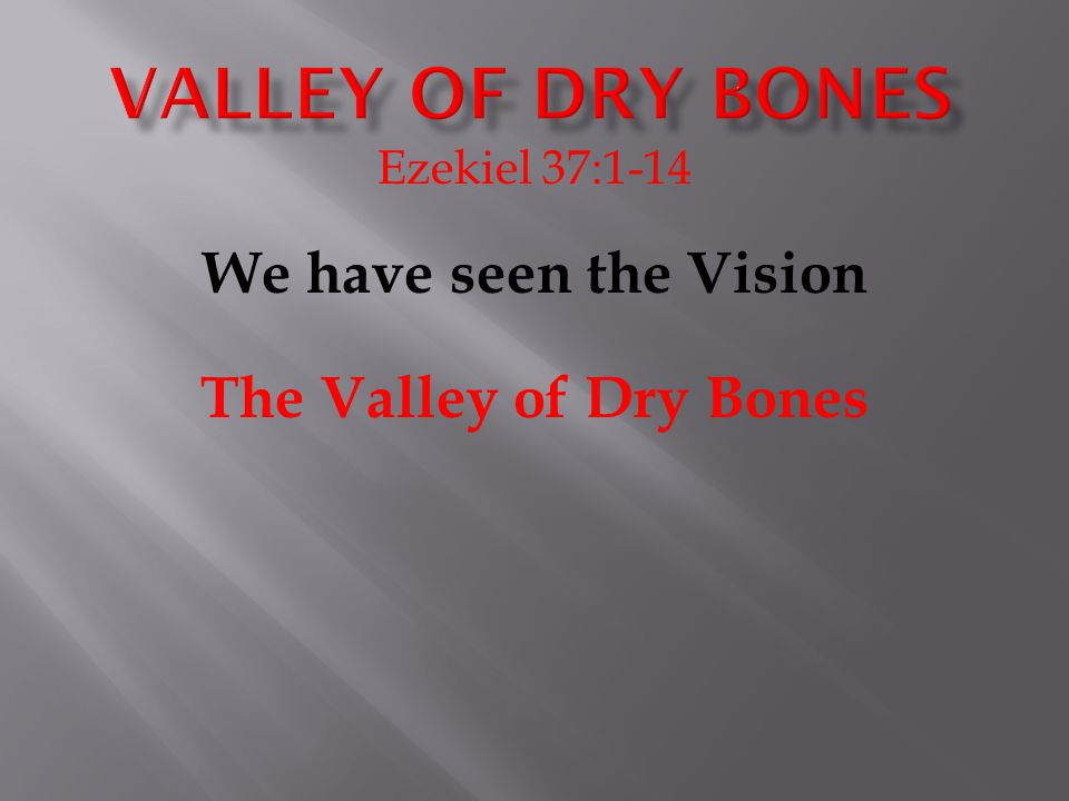 Ezekiel 37:1-14 We have seen the Vision The Valley of Dry Bones