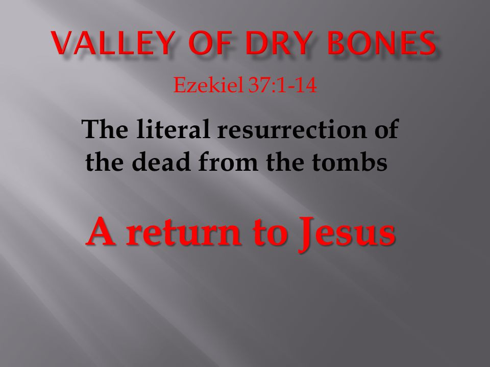 The literal resurrection of the dead from the tombs A return to Jesus