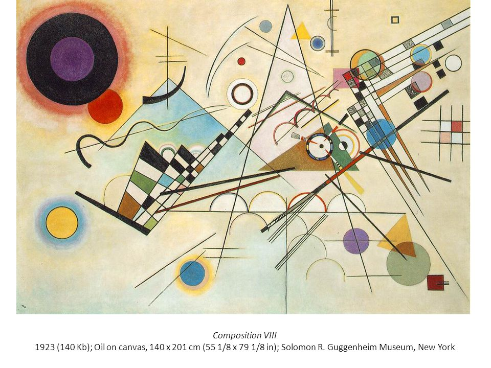 Composition VIII 1923 (140 Kb); Oil on canvas, 140 x 201 cm (55 1/8 x 79 1/8 in); Solomon R.