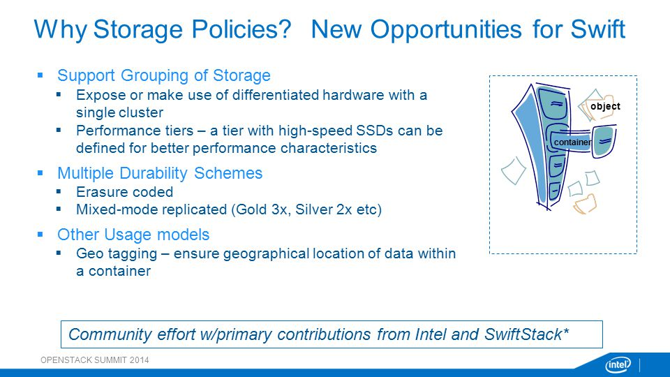  Support Grouping of Storage  Expose or make use of differentiated hardware with a single cluster  Performance tiers – a tier with high-speed SSDs can be defined for better performance characteristics  Multiple Durability Schemes  Erasure coded  Mixed-mode replicated (Gold 3x, Silver 2x etc)  Other Usage models  Geo tagging – ensure geographical location of data within a container Why Storage Policies.