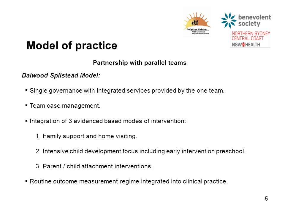 5 Model of practice Partnership with parallel teams Dalwood Spilstead Model:  Single governance with integrated services provided by the one team.