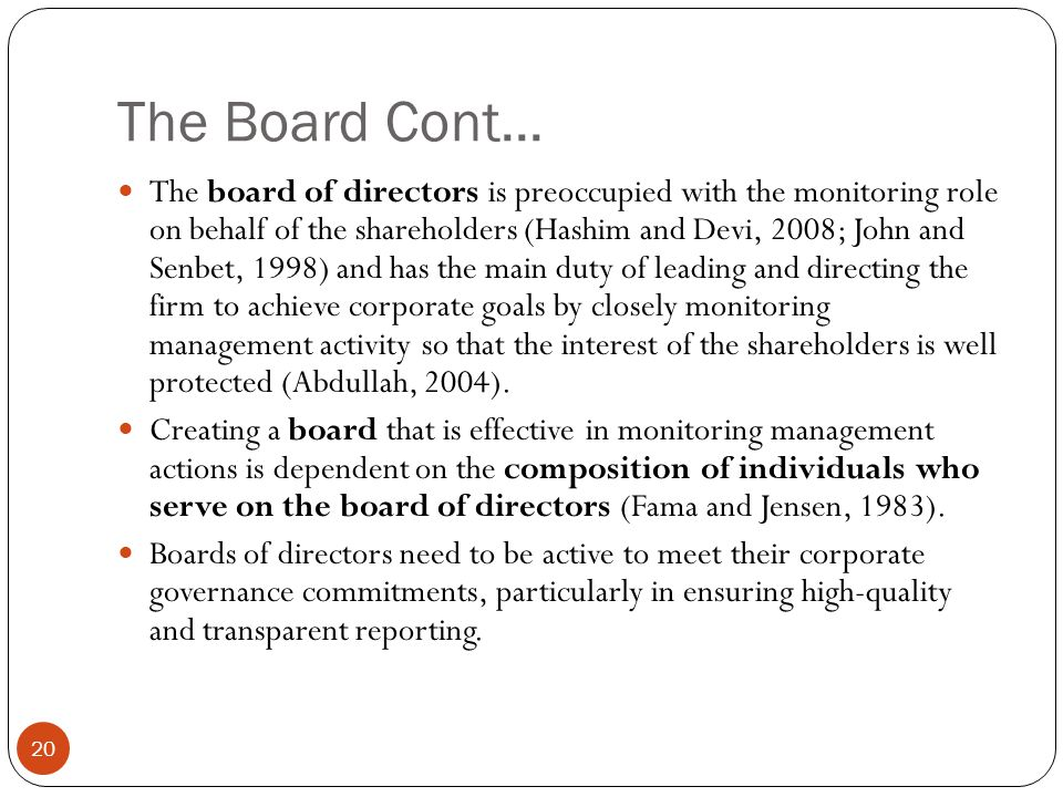 The Board Cont...