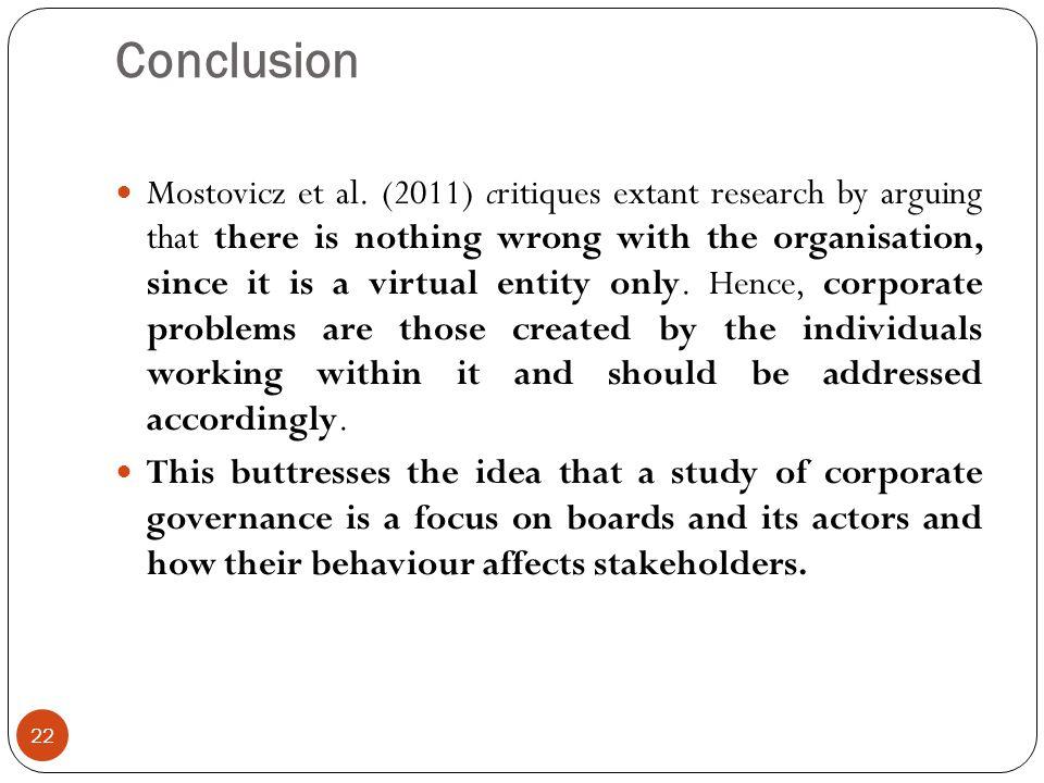 Conclusion 22 Mostovicz et al.