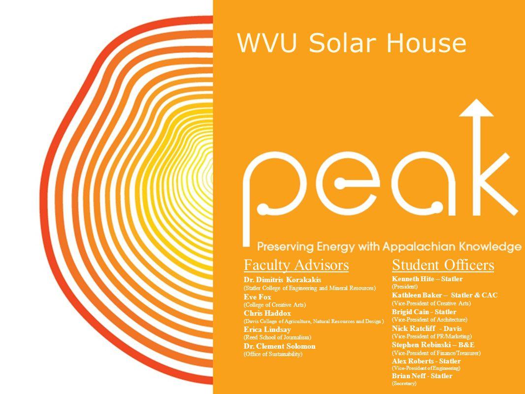 Solar House Presentation Advisor: Dr. Korakakis WVU Solar House Faculty Advisors Dr.