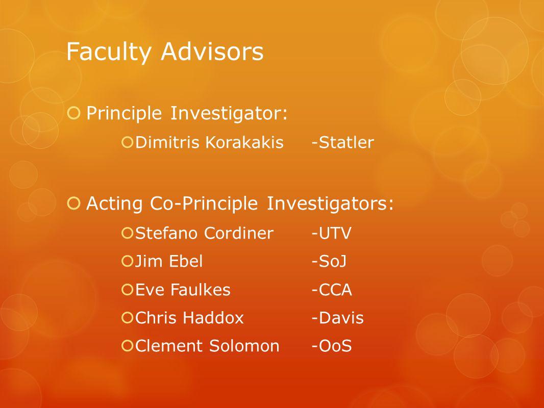 Faculty Advisors  Principle Investigator:  Dimitris Korakakis-Statler  Acting Co-Principle Investigators:  Stefano Cordiner-UTV  Jim Ebel-SoJ  Eve Faulkes-CCA  Chris Haddox-Davis  Clement Solomon-OoS