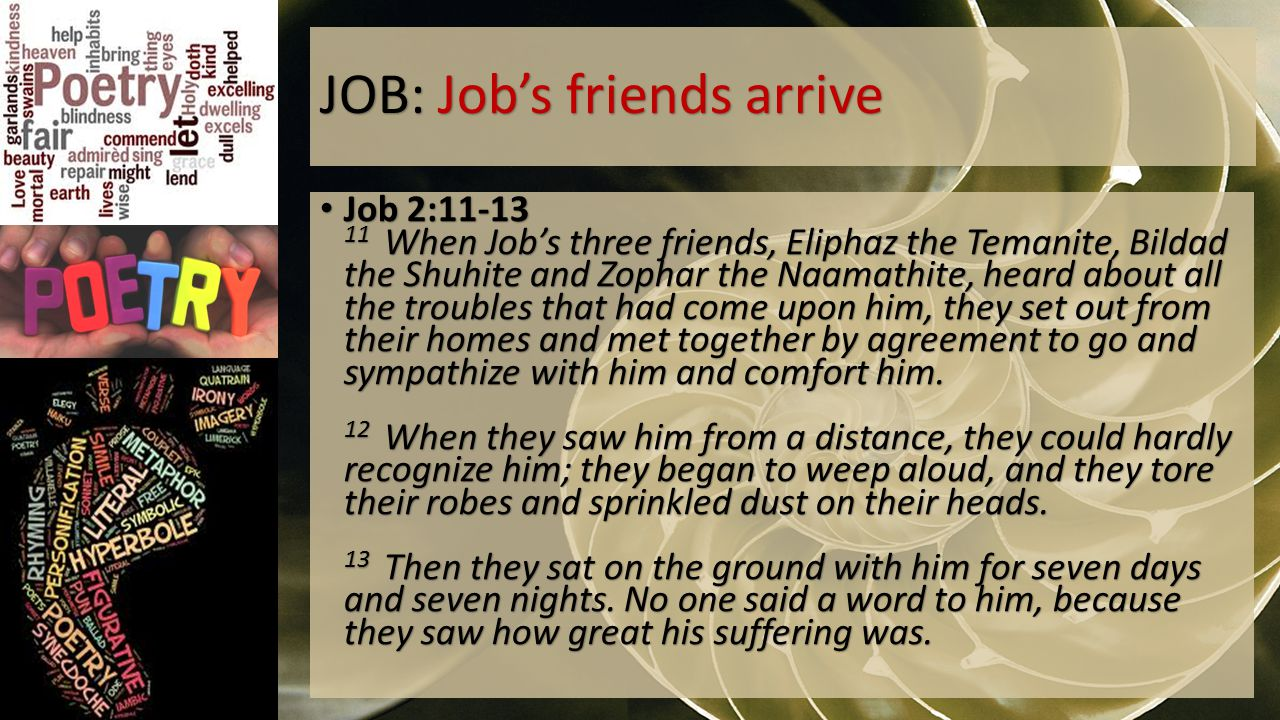 JOB: Job's friends arrive Job 2:11-13 11 When Job's three friends, Eliphaz the Temanite, Bildad the Shuhite and Zophar the Naamathite, heard about all the troubles that had come upon him, they set out from their homes and met together by agreement to go and sympathize with him and comfort him.