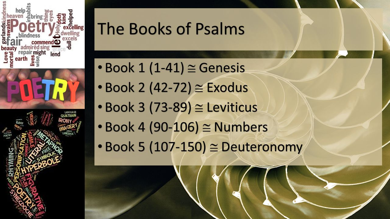The Books of Psalms Book 1 (1-41)  Genesis Book 1 (1-41)  Genesis Book 2 (42-72)  Exodus Book 2 (42-72)  Exodus Book 3 (73-89)  Leviticus Book 3 (73-89)  Leviticus Book 4 (90-106)  Numbers Book 4 (90-106)  Numbers Book 5 (107-150)  Deuteronomy Book 5 (107-150)  Deuteronomy