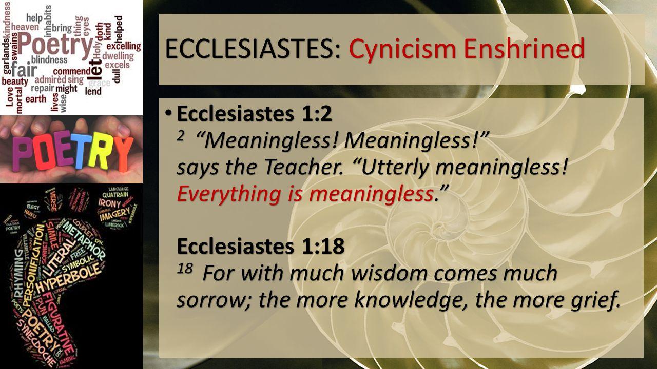 ECCLESIASTES: Cynicism Enshrined Ecclesiastes 1:2 2 Meaningless.