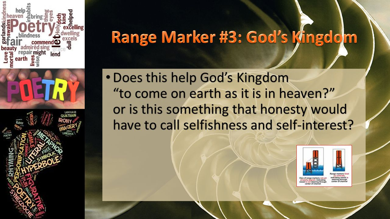 Does this help God's Kingdom to come on earth as it is in heaven or is this something that honesty would have to call selfishness and self-interest.
