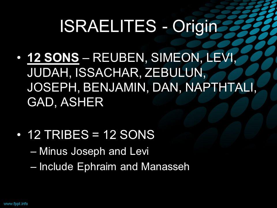 ISRAELITES - Origin 12 SONS – REUBEN, SIMEON, LEVI, JUDAH, ISSACHAR, ZEBULUN, JOSEPH, BENJAMIN, DAN, NAPTHTALI, GAD, ASHER 12 TRIBES = 12 SONS –Minus