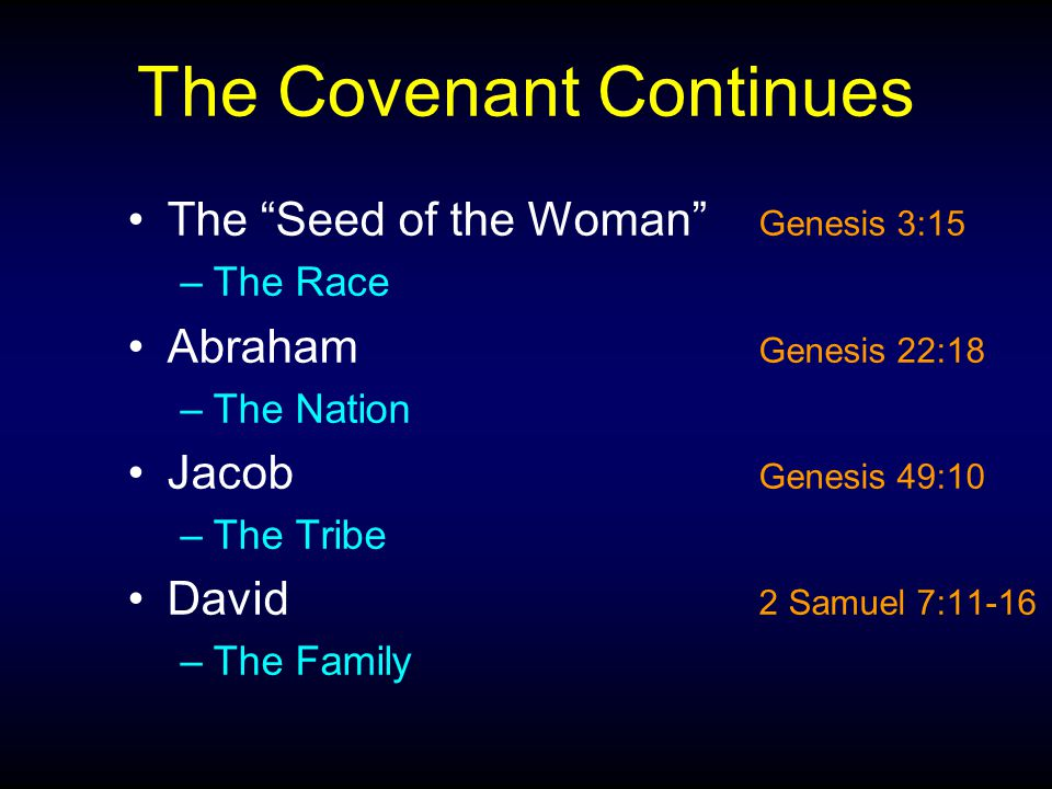 The Covenant Continues The Seed of the Woman Genesis 3:15 –The Race Abraham Genesis 22:18 –The Nation Jacob Genesis 49:10 –The Tribe David 2 Samuel 7:11-16 –The Family