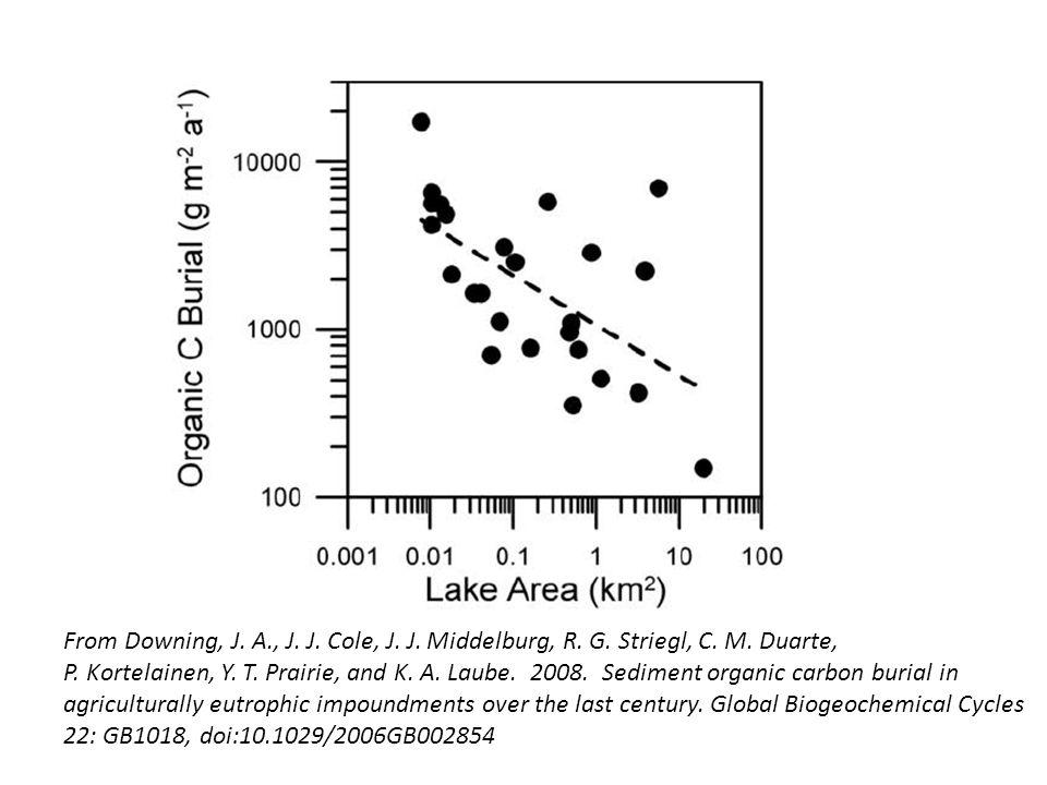 From Downing, J. A., J. J. Cole, J. J. Middelburg, R. G. Striegl, C. M. Duarte, P. Kortelainen, Y. T. Prairie, and K. A. Laube. 2008. Sediment organic