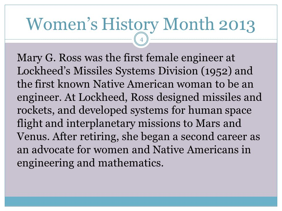 Women's History Month 2013 In computer sciences, women's representation has actually been declining.