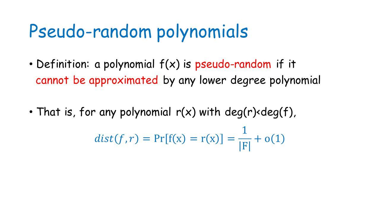 Pseudo-random polynomials