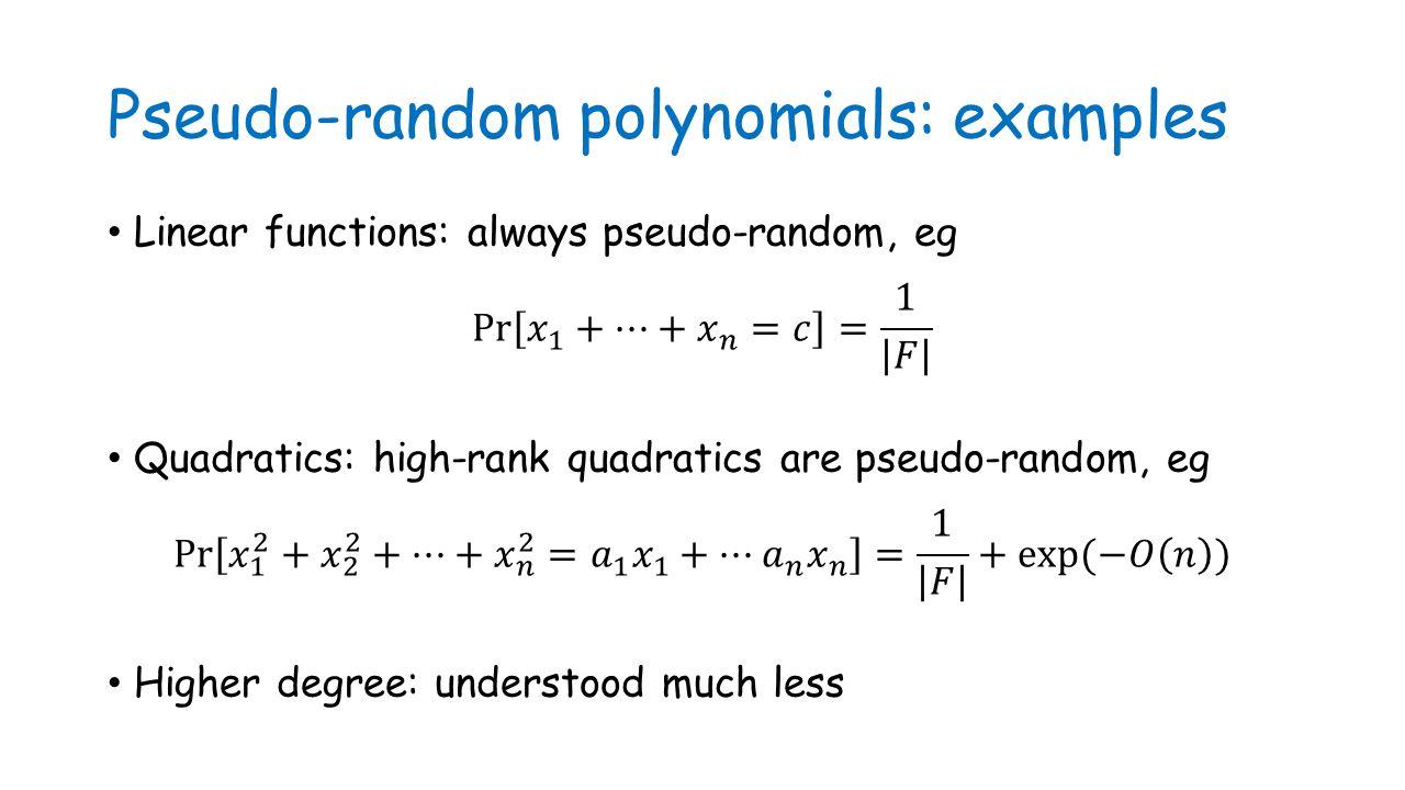 Pseudo-random polynomials: examples