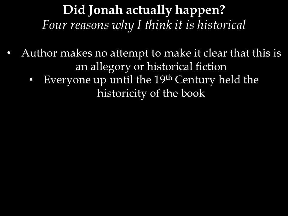 Did Jonah actually happen.