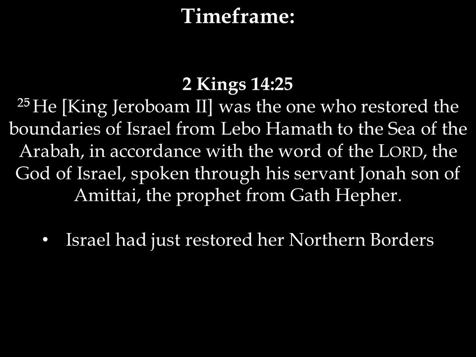Jonah's Reaction Jonah 1:3 3 But Jonah ran away from the L ORD and headed for Tarshish.