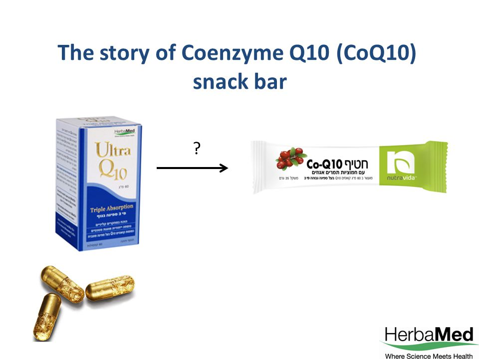 (CoQ10) The story of Coenzyme Q10 snack bar
