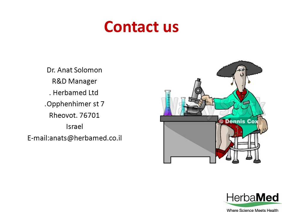 Contact us Dr. Anat Solomon R&D Manager Herbamed Ltd.